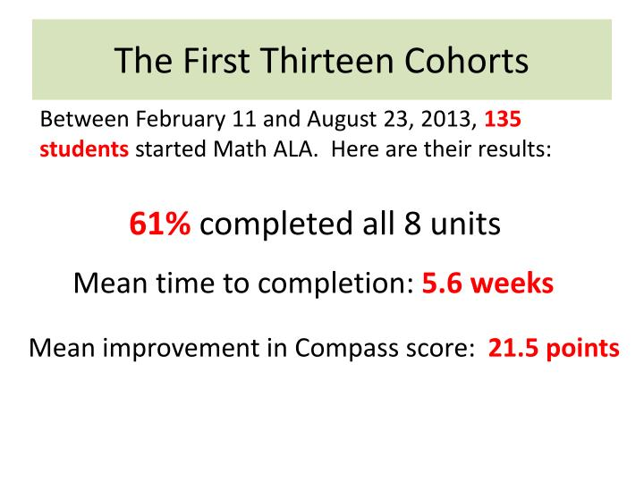 The First Thirteen Cohorts
