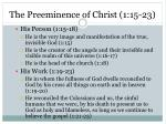 the preeminence of christ 1 15 23