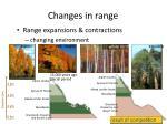 changes in range