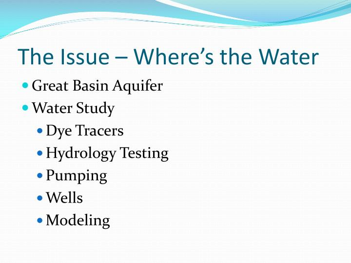 The Issue – Where's the Water