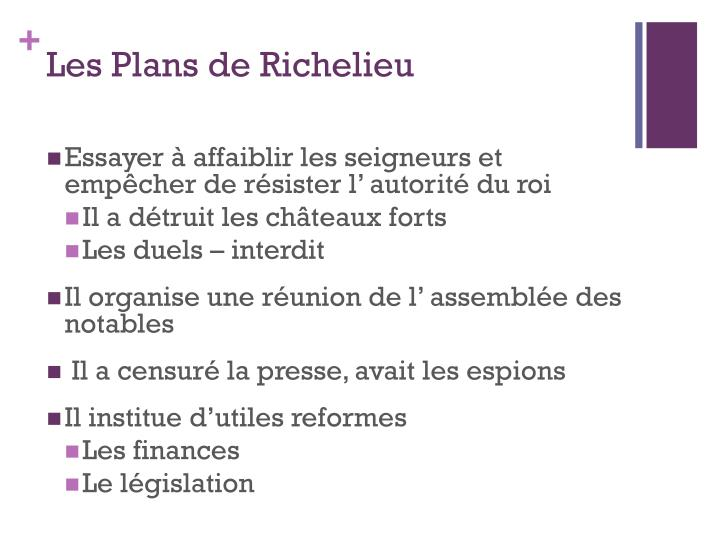 Les Plans de Richelieu