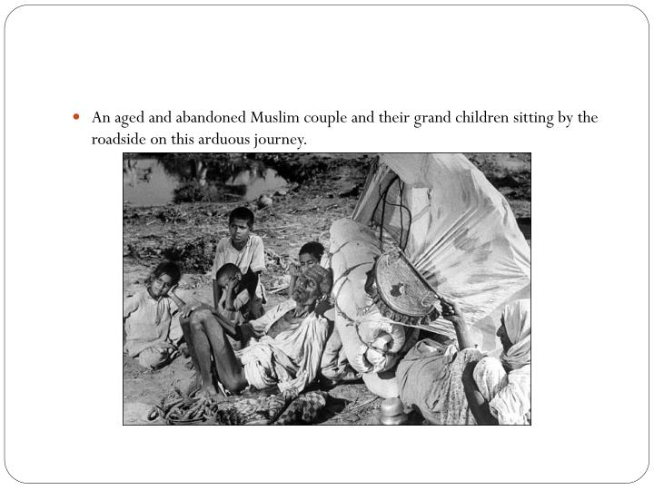 An aged and abandoned Muslim couple and their grand children sitting by