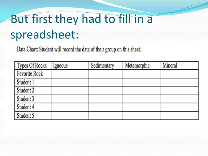 But first they had to fill in a spreadsheet: