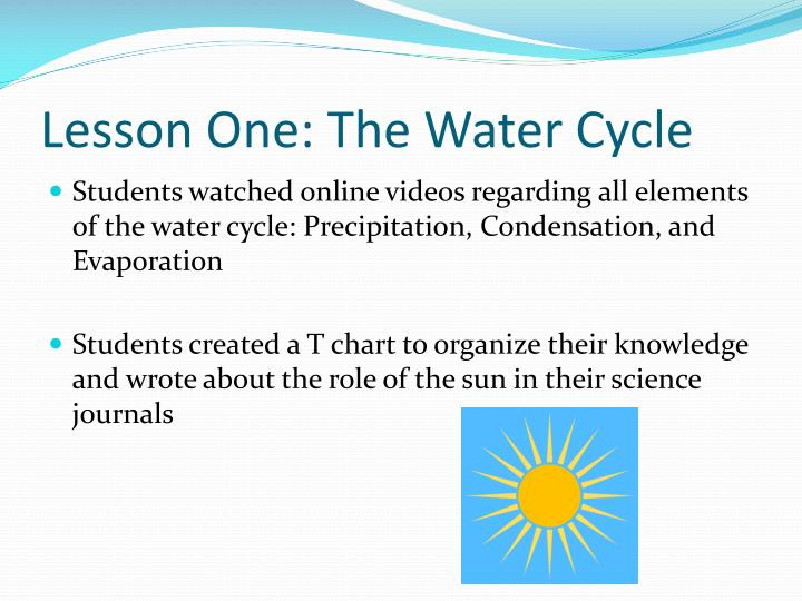 Lesson one the water cycle