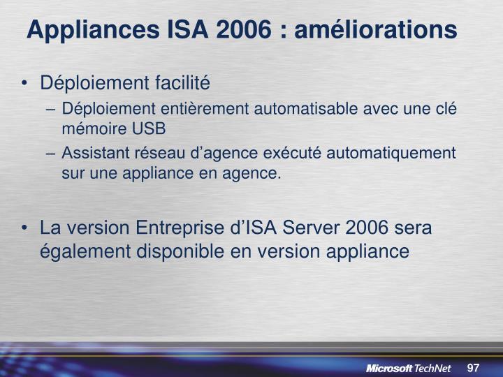 Appliances ISA 2006 : améliorations