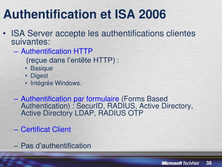 Authentification et ISA 2006