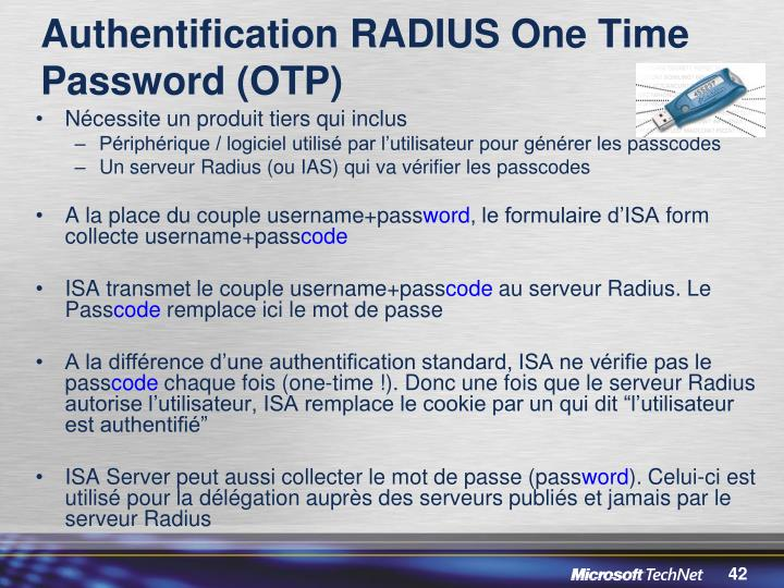 Authentification RADIUS One Time Password (OTP)