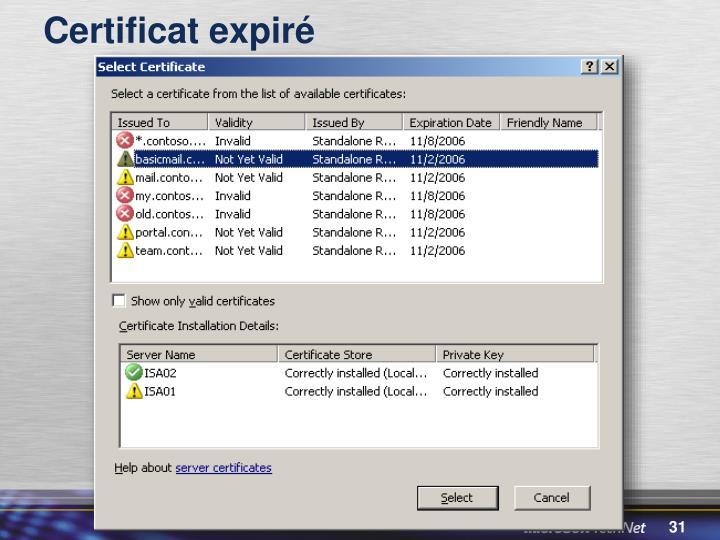 Certificat expiré