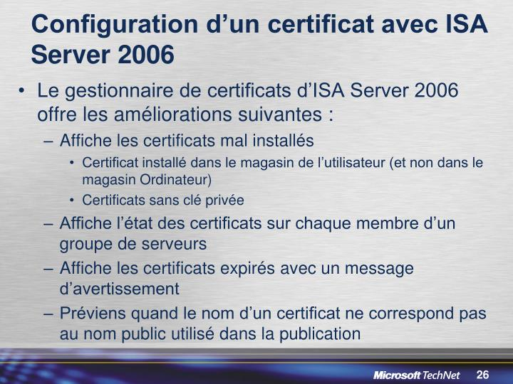 Configuration d'un certificat avec ISA Server 2006
