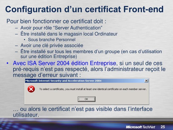 Configuration d'un certificat Front-end