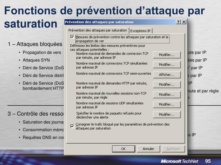 Fonctions de prévention d'attaque par saturation