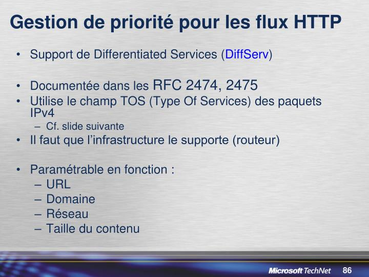 Gestion de priorité pour les flux HTTP