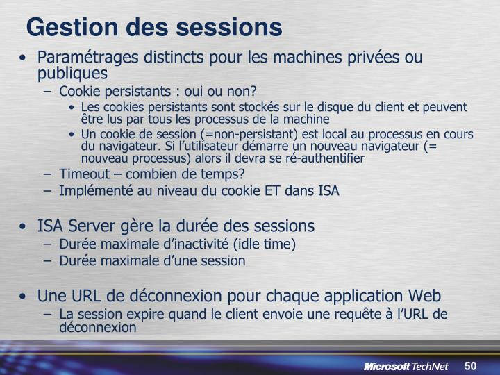 Gestion des sessions