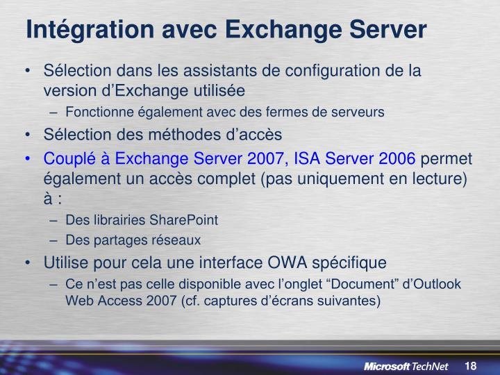 Intégration avec Exchange Server