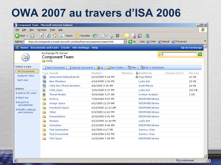 OWA 2007 au travers d'ISA 2006