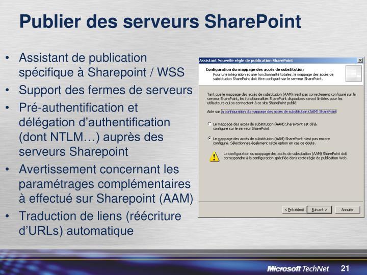 Publier des serveurs SharePoint