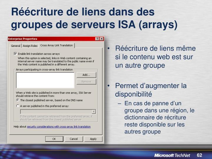 Réécriture de liens dans des groupes de serveurs ISA (arrays)