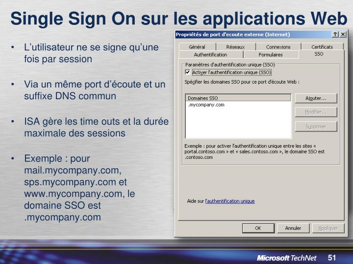 Single Sign On sur les applications Web