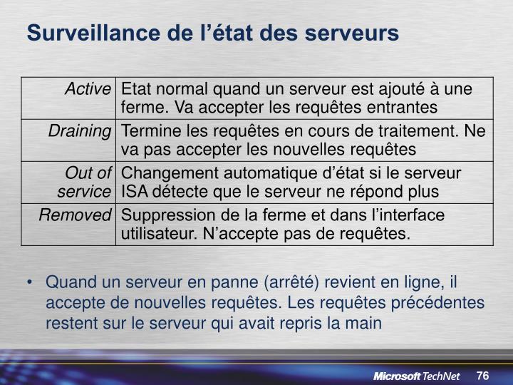 Surveillance de l'état des serveurs
