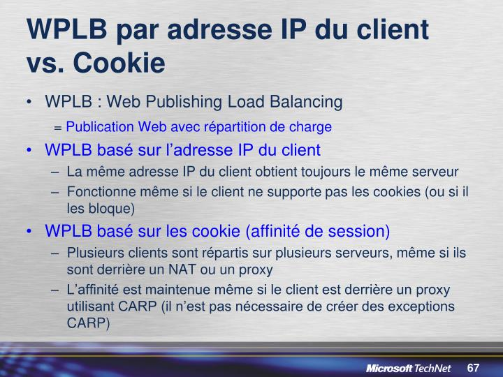 WPLB par adresse IP du client vs. Cookie