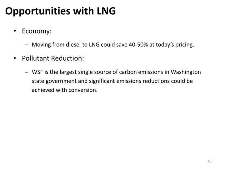Opportunities with LNG
