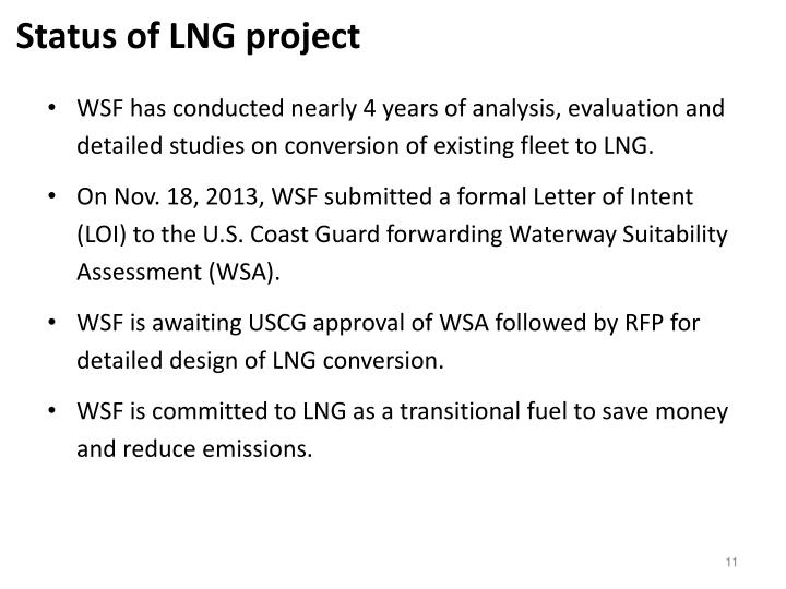 Status of LNG project