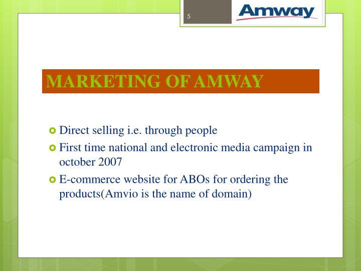 MARKETING OF AMWAY