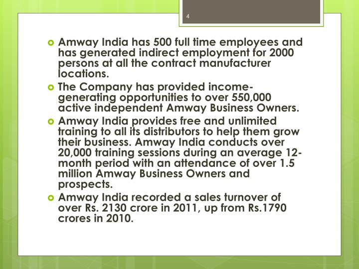 Amway India has 500 full time employees and has generated indirect employment for 2000 persons at all the contract manufacturer locations.
