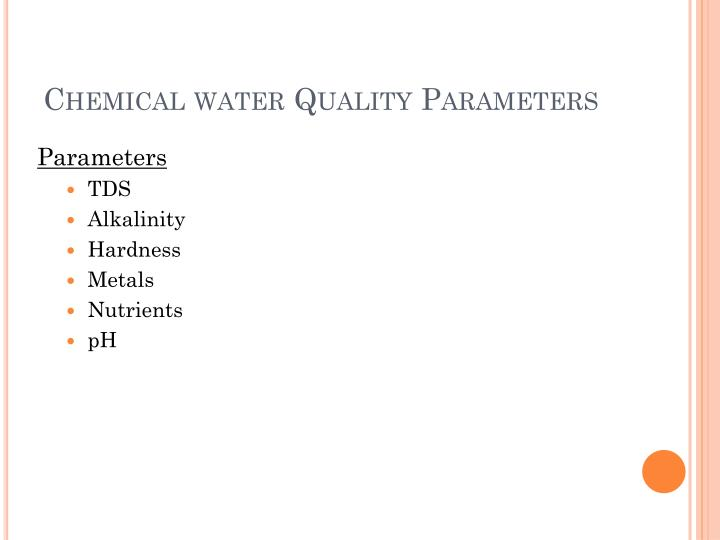 Chemical water Quality Parameters