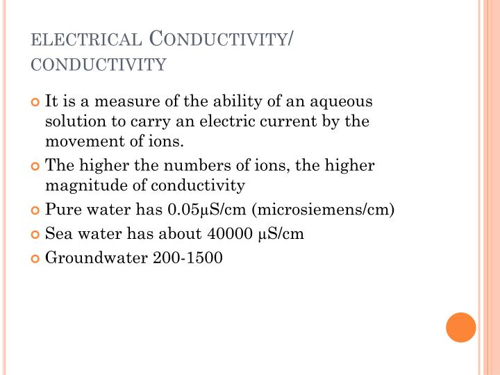 electrical Conductivity/ conductivity