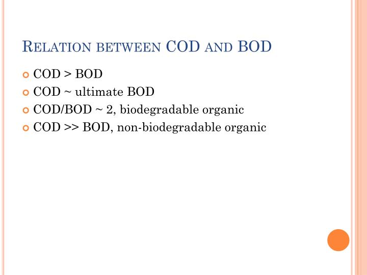 Relation between COD and BOD