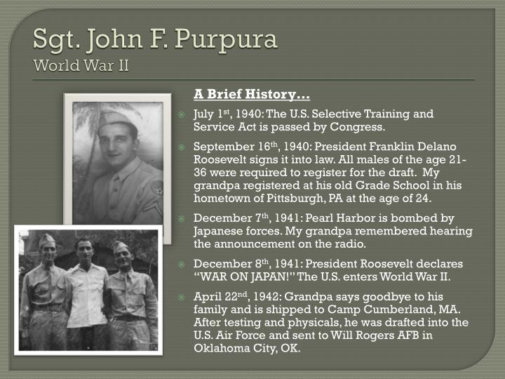 Sgt john f purpura world war ii