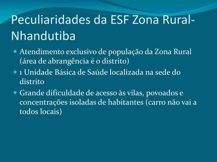 Peculiaridades da ESF Zona Rural-