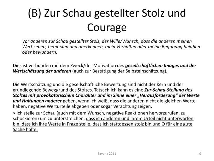 (B) Zur Schau gestellter Stolz und Courage