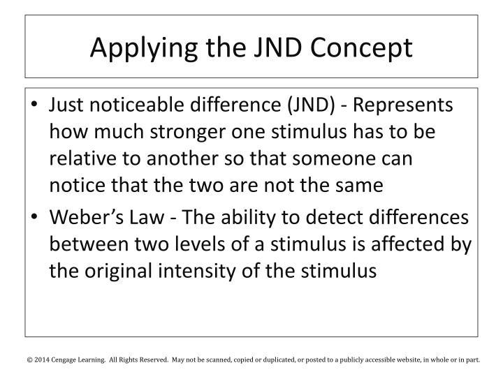 Applying the JND Concept