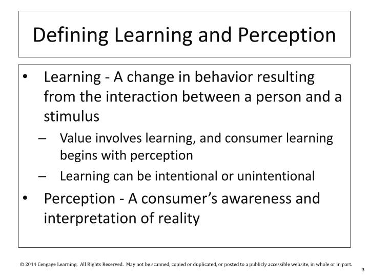 Defining Learning and Perception