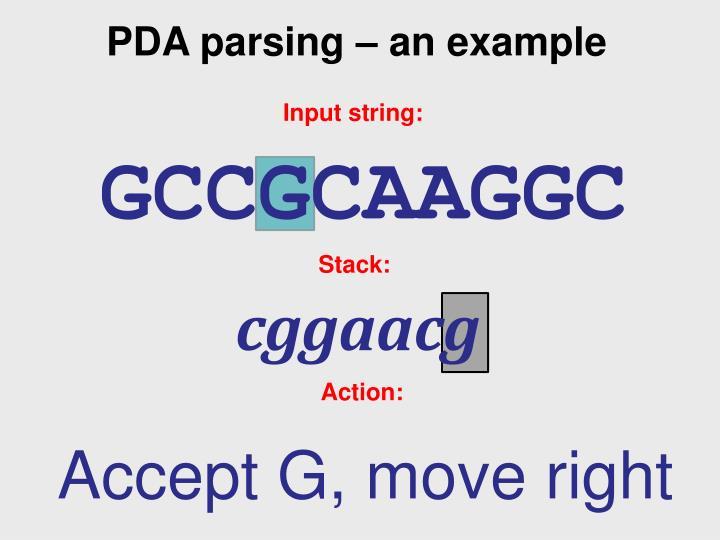 PDA parsing – an example