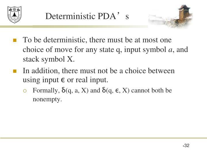 Deterministic PDA