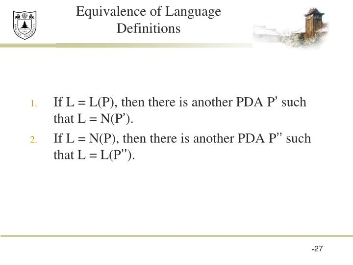 Equivalence of Language Definitions