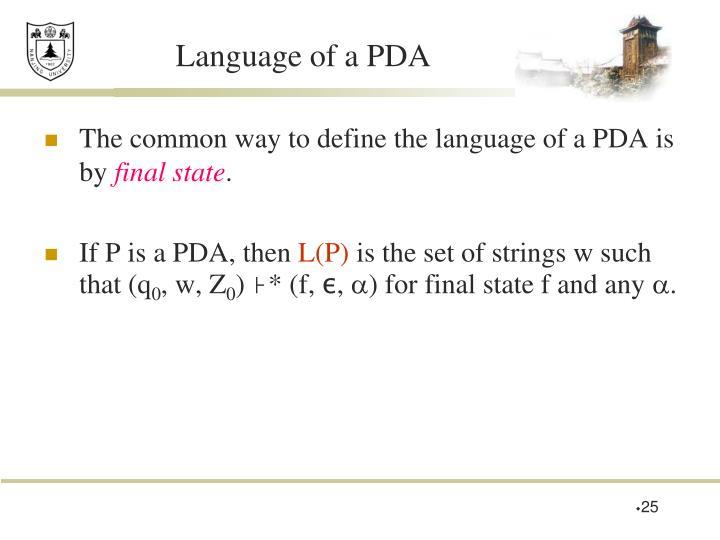 Language of a PDA