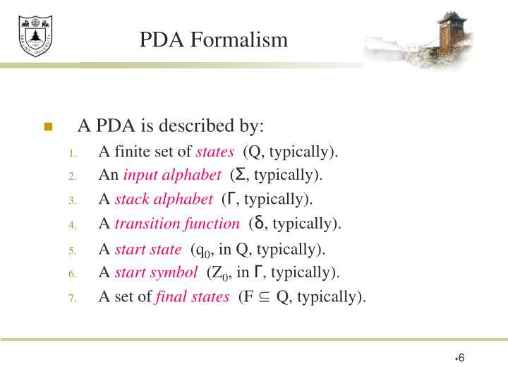 PDA Formalism