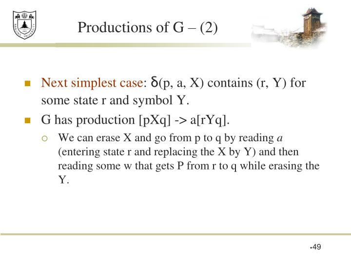 Productions of G – (2)