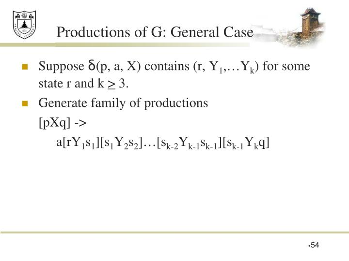 Productions of G: General Case
