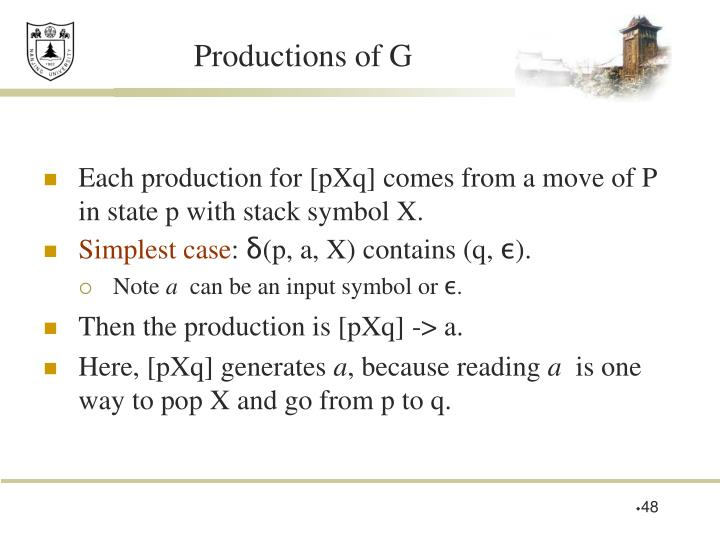 Productions of G