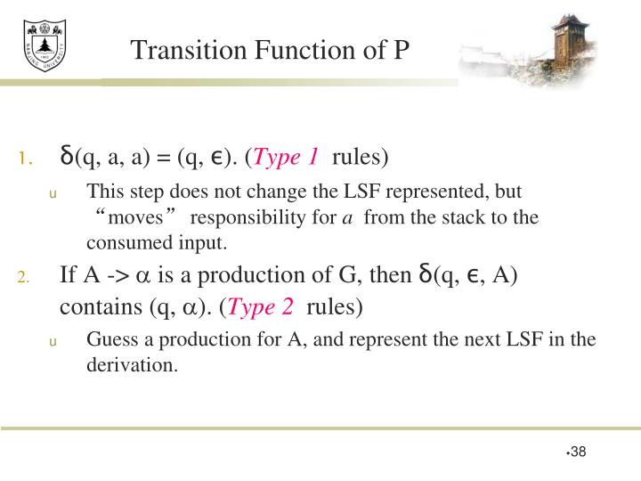 Transition Function of P