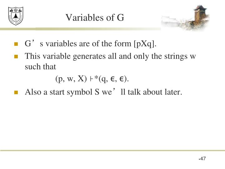 Variables of G