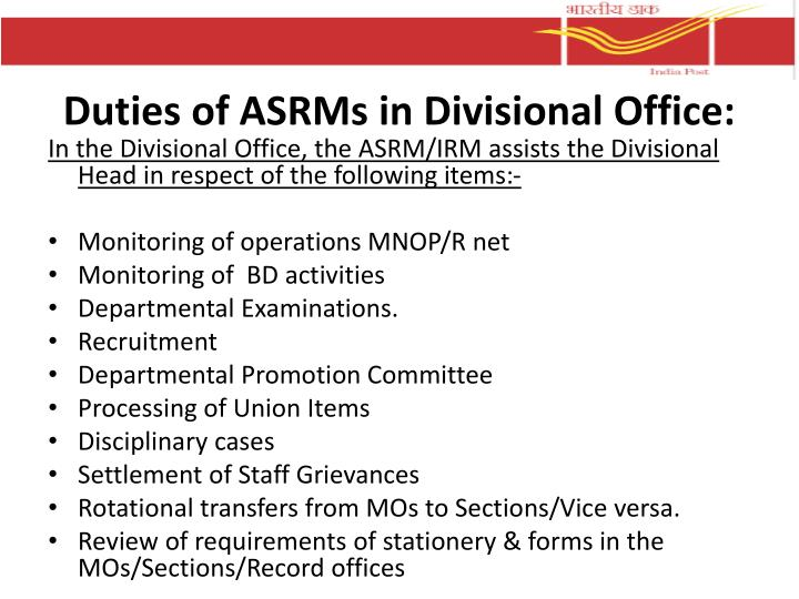 Duties of ASRMs in Divisional Office:
