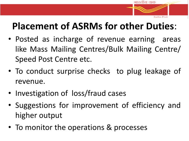 Placement of ASRMs for other Duties