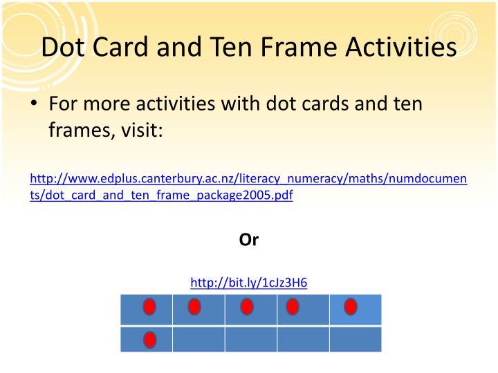 Dot Card and Ten Frame Activities