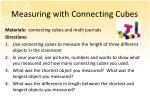 measuring with connecting cubes